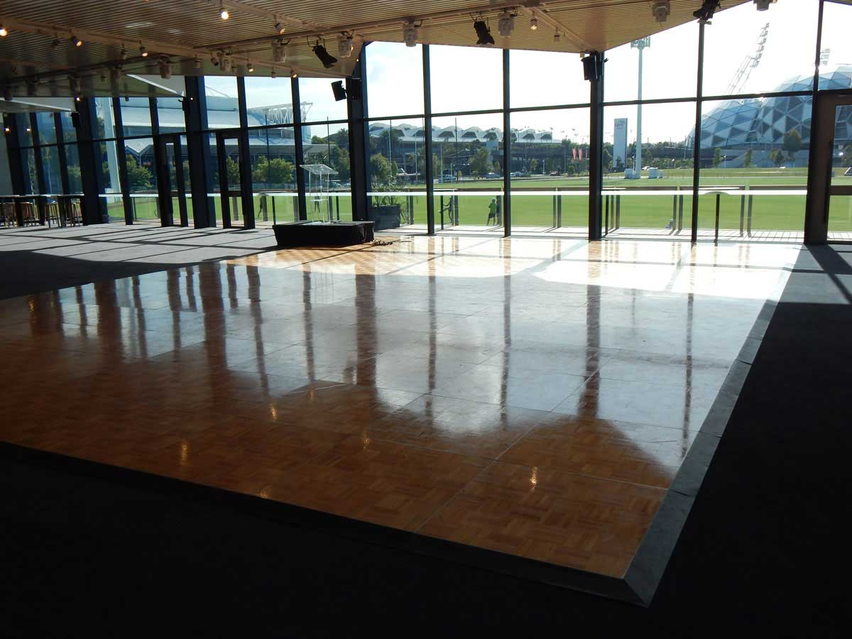 Timber dance floor glasshouse Melbourne